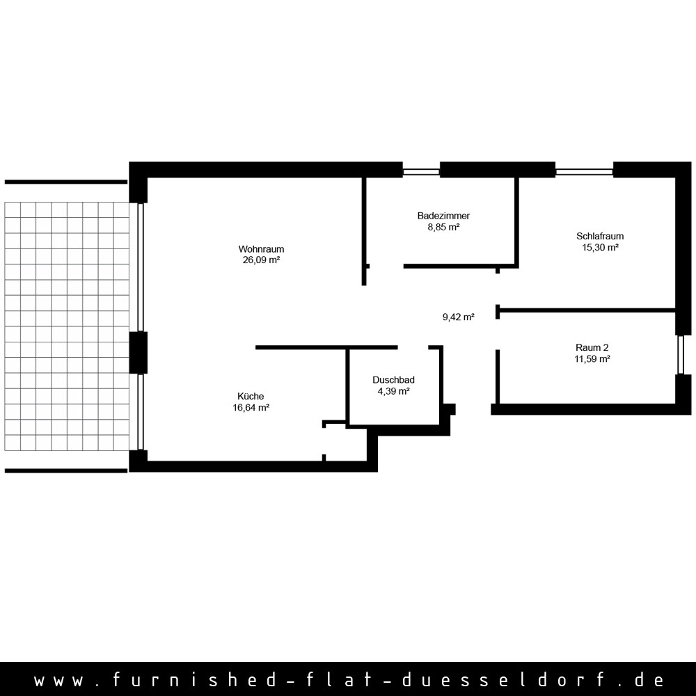 Furnished apartment in Duesseldorf - Floor Plan